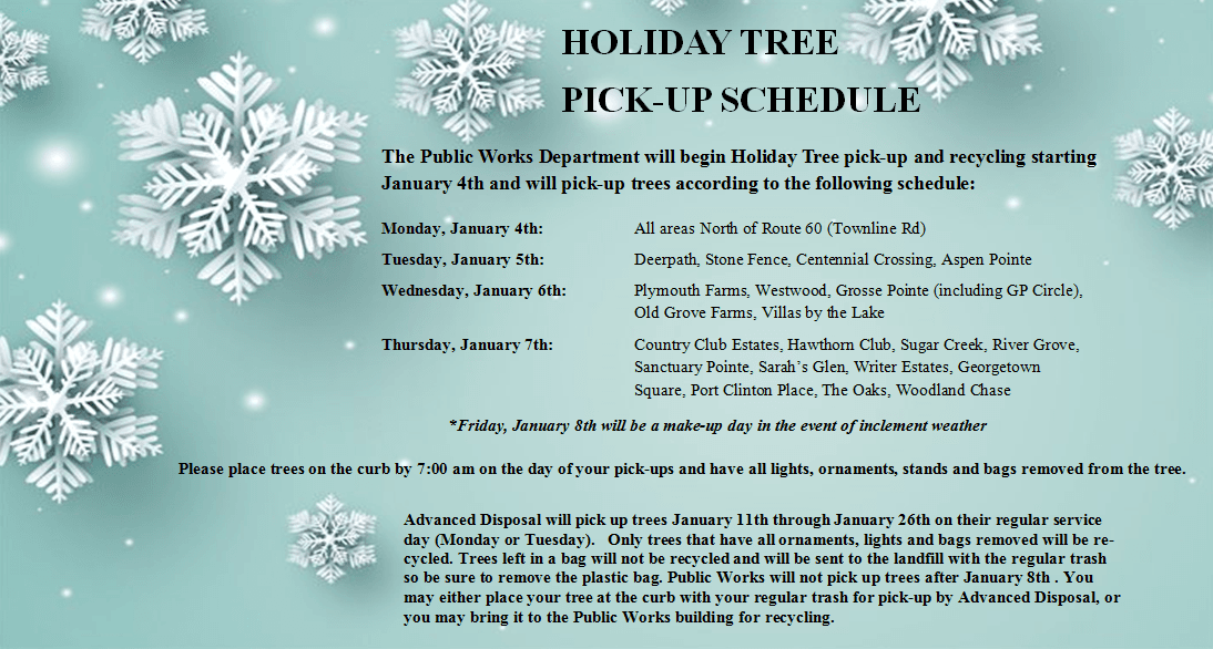 Holiday Tree Pick Up Schedule
