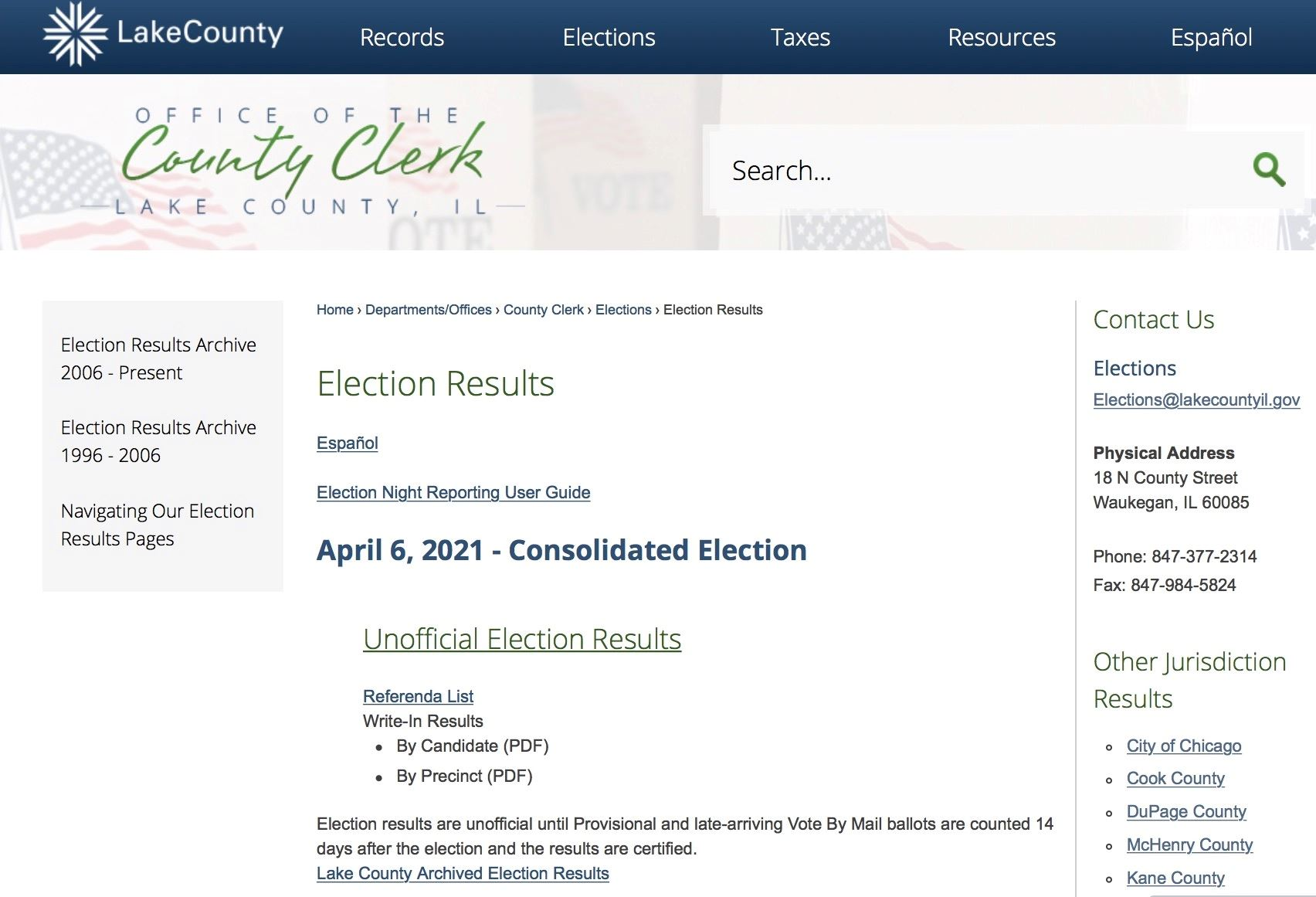 LakeCountyClerkElectionResults
