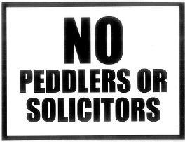 No Peddlers or Solicitors Sign